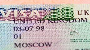 Estampilles britanniques d'entrée et de sortie de visa Photos stock