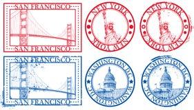 Estampilles célèbres de villes des Etats-Unis Photographie stock libre de droits