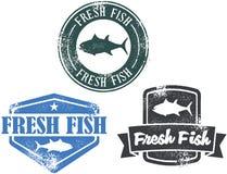 Estampilles de fruits de mer de poissons frais de cru illustration de vecteur
