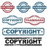 Estampilles de grunge de copyright illustration de vecteur
