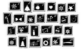 Estampilles de Noël - calendrier d'arrivée Photo stock