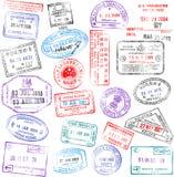 Estampilles de passeport Images libres de droits