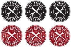 Estampilles de service de bricoleur de mécanicien Images stock