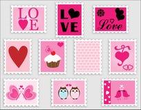 Estampilles de Valentine de coeur d'amour Images libres de droits