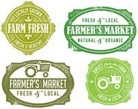 Estampilles du marché de l'agriculteur de cru Photos stock