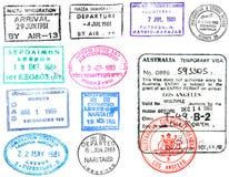 Estampilles et visa de passeport Images libres de droits