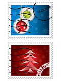 Estampilles postales de Noël illustration stock