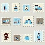Estampilles postales réglées avec des jouets. Image libre de droits