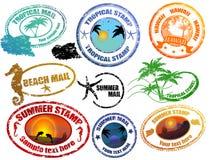 Estampilles tropicales d'été Images libres de droits