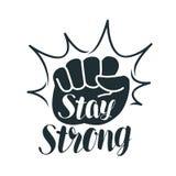 Estancia fuerte, poniendo letras Puño aumentado, deporte, gimnasio, ejercicio, etiqueta de la aptitud o símbolo Ilustración del v stock de ilustración