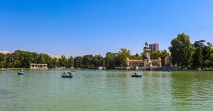 Estanque Grande del Retiro late in Madrid, Spain, Shoot in July, 2018. This picture was taken in Madrid, Spain in July 2018 royalty free stock image