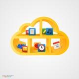 Estante amarillo de la nube con los iconos Imágenes de archivo libres de regalías