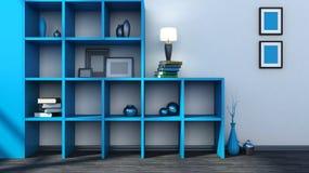 Estante azul con los floreros, los libros y la lámpara Imágenes de archivo libres de regalías