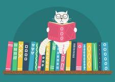 Estante com o livro de leitura branco inteligente do gato da fantasia ilustração do vetor