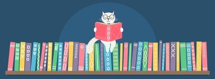 Estante con el libro de lectura blanco del gato de la fantasía exhausta de la mano que se sienta ilustración del vector