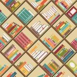 Estante con los libros Fondo inconsútil Fotografía de archivo libre de regalías