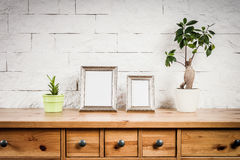 Estante con los marcos y las flores foto de archivo libre de regalías