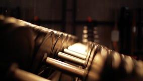 Estante con pesas de gimnasia en el gimnasio Mentira de las pesas de gimnasia en el cierre del estante para arriba almacen de video