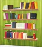 Estante de la biblioteca de la historieta en la pared stock de ilustración
