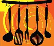 Estante de la ilustración de los utensilios de la cocina Imágenes de archivo libres de regalías