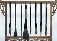 Estante de la pluma del cepillo Imagen de archivo libre de regalías