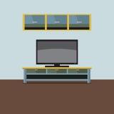 Estante de la TV con el gabinete de pared stock de ilustración