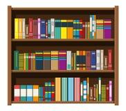 Estante de librería de la biblioteca Estante para libros con diversos libros ilustración del vector