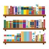 Estante de librería de la biblioteca Estante para libros con diversos libros stock de ilustración