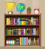 Estante de librería de la biblioteca Estante para libros con diversos libros libre illustration