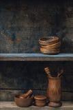 Estante de madera Foto de archivo