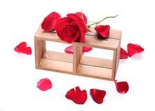 Estante de madera adornado con las flores de la rosa del rojo Fotos de archivo