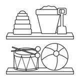 Estante de madera con los juguetes libre illustration