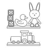 Estante de madera con los juguetes stock de ilustración
