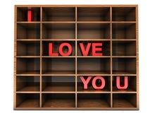 Estante de madera con te amo fotografía de archivo