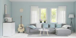 estante de madera de la representación 3d, estilo japonés mínimo sala de estar grande moderna de la representación 3d con el piso ilustración del vector