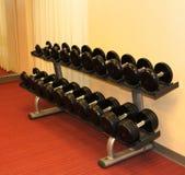 Estante de pesas de gimnasia en un gimnasio bien adornado. Fotos de archivo libres de regalías