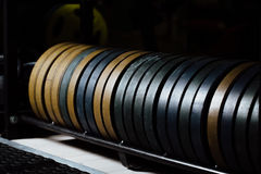 Estante de placas del peso del primer en el gimnasio Muchos discos del barbell en amarillo, negro, verde multicolor Imagen de archivo
