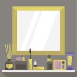 Estante del cuarto de baño del ` s de la señora: accesorios y cosméticos de la belleza Colores de oro Ejemplo plano, clip art ilustración del vector