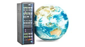 Estante del servidor con el globo giratorio de la tierra Concepto global de Internet, representación 3D aislada en el fondo blanc ilustración del vector