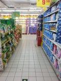 Estante del supermercado Imágenes de archivo libres de regalías
