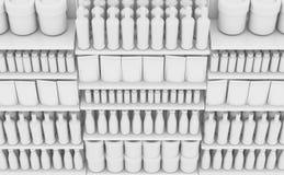 Estante del supermercado con los productos genéricos stock de ilustración