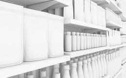 Estante del supermercado con los productos genéricos ilustración del vector