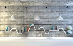 Estante minimalista sobre o fundo concreto dramático, design de interiores moderno ilustração royalty free