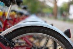 Estante público del alquiler de la bicicleta Fotografía de archivo