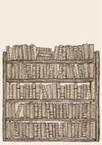 Estante para libros con las porciones de libros Imágenes de archivo libres de regalías