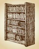 Estante para libros con los diversos libros Gráfico del vector Imagenes de archivo
