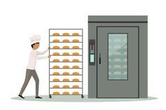 Estante que lleva del panadero por completo del pan a un horno industrial libre illustration