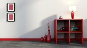 Estante rojo con los floreros, los libros y la lámpara Fotos de archivo