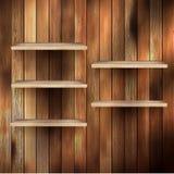 Estante vacío para el objeto expuesto en el fondo de madera. EPS 10 ilustración del vector