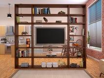 Estantes abiertos en el interior en estilo del desván con una TV 3d Foto de archivo libre de regalías
